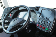 Dashboard with navigation of an autobus. Modern auto control pan Stock Photo