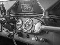 Dashboard of an old military jeep. Royalty Free Stock Photo