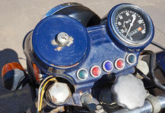 Dashboard of an old motorcycle. Outdoor Stock Images