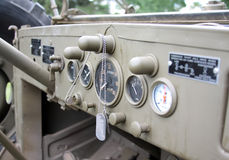 Dashboard of an old WWII military truck. With name tags Royalty Free Stock Image