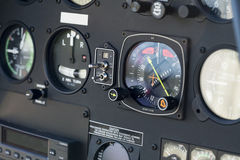 The dashboard panel in a helicopter cockpit, detail Stock Photo