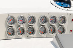 Dashboard in a power boat Stock Photos