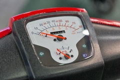 Dashboard with speedometer of electric motorcycle closeup Royalty Free Stock Photo