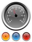 Dashboard speedometer gauges. Dashboard speedometer gauge icons in 4 colors Stock Images
