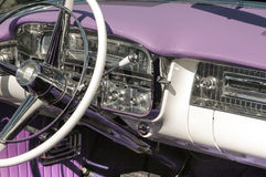 Dashboard and steering wheel. On a classic car, circa 1950 Royalty Free Stock Image