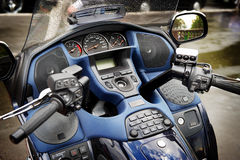 Dashboard and steering wheel of large motorcycle. Dashboard and steering wheel of large luxury motorcycle Royalty Free Stock Images