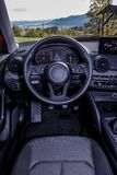 Dashboard and steering wheel close up. Dashboard and steering wheel of modern car Royalty Free Stock Photos
