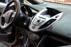 Dashboard and steering wheel. New car inside Royalty Free Stock Photos