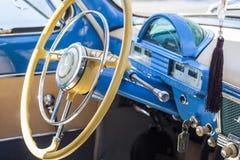 Dashboard and steering wheel of retro car on GAZ21 avtoarena in Cheboksary,. Chuvash Republic, Russia. 08/20/2016 Royalty Free Stock Image