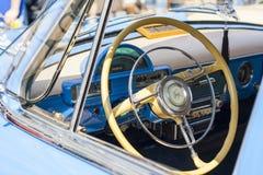 Dashboard and steering wheel of retro car on GAZ21 avtoarena in Cheboksary,. Chuvash Republic, Russia. 08/20/2016 Royalty Free Stock Photo