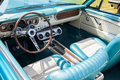 Dashboard and steering wheel of a vintage cabriolet Stock Photos