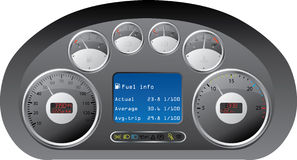 Dashboard of a truck. Truck dashboard design with gauges Stock Photos