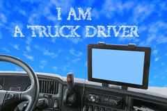 Dashboard of the truck with inscription in the blue sky Royalty Free Stock Image