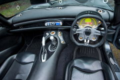 Dashboard of TVR Tuscan English sport c. The interior of TVR Tuscan English sport car, dashboard and leather and driver's seat Royalty Free Stock Photography