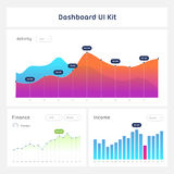 Dashboard UI and UX Kit. Bar chart and line graph designs. Different infographic elements. White background Stock Photography