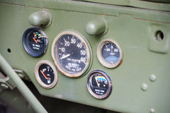 Dashboard of US army jeep Royalty Free Stock Image
