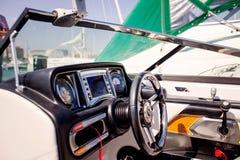 Dashboard of wake boarding boat Stock Photos