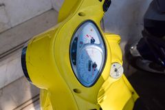 Dashboard of yellow motorbike with speed needle closeup royalty free stock photos