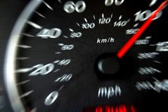 Dashboard3. Car dashboard, speeding over 100mph Royalty Free Stock Photography
