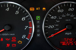 Dashboard4. Car dashboard, trouble lighting: brakes, battery, etc Royalty Free Stock Images