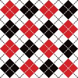 Dashed Argyle in Red, Black and White Stock Image