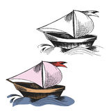 Dashed drawing of sailing boats on the sea waves. Dashed line- ink drawing of sailing boats on the sea waves royalty free illustration