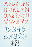 Dashed grunge style vector font with numbers Stock Image