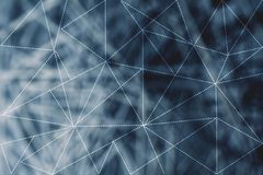Dashed lines lowpoly pattern and network background. Dashed lines lowpoly pattern over blue unfocused network background Royalty Free Stock Image