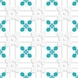 Dashed squares with green flowers pattern Royalty Free Stock Image