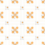 Dashed squares with orange flowers pattern Stock Image