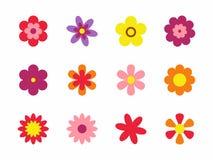 在空白背景查出的花 套五颜六色的花卉象 在平的dasing的样式的花 也corel凹道例证向量 免版税库存图片