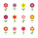 在空白背景查出的花 套五颜六色的花卉象 在平的dasing的样式的花 也corel凹道例证向量 库存照片