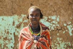 Dassanech女孩画象  Omorato,埃塞俄比亚 免版税库存照片