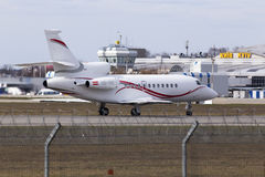 Dassault Falcon 900EX aircraft preparing for take-off from the runway Stock Photo