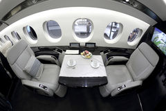 Dassault falcon 5X interior shown during Jetexpo-2014 exhibition at Vnukovo international airport. VNUKOVO, MOSCOW REGION, RUSSIA - SEPTEMBER 12, 2014: Dassault Stock Photos