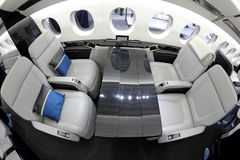 Dassault falcon 5X interior shown during Jetexpo-2014 exhibition at Vnukovo international airport. VNUKOVO, MOSCOW REGION, RUSSIA - SEPTEMBER 12, 2014: Dassault Royalty Free Stock Photo