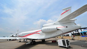 Dassault Falcon 7X twin engine business jet on display at Singapore Airshow Stock Photos