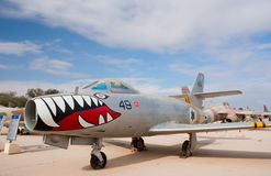 Dassault MD-450 Ouragan. HATZERIM, ISRAEL - JANUARY 02: Dassault MD-450 Ouragan fighter-bomber, the first French military jet, is displayed in Israeli Air Force Royalty Free Stock Image
