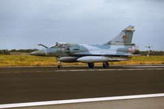 Dassault Mirage 2000 at  NATO Tiger Meet 2014. Schleswig - Jagel, Germany - June 19, 2014: French Air Force Dassault Mirage 2000 board number118-EZ is taxiing on Stock Photo