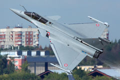Dassault Rafale of french air force shown at 100 years anniversary of Russian Air Forces in Zhukovsky. ZHUKOVSKY, MOSCOW REGION, RUSSIA - AUGUST 10, 2012 Royalty Free Stock Photography