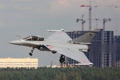 Dassault Rafale som visas på 100 år årsdag av ryska flygvapen i Zhukovsky Arkivfoto
