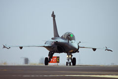 Dassault Rafale taxing after landing Stock Photos