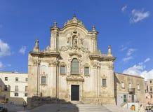 DAssisikerk van San Francesco in Matera, Basilicata, Italië Stock Fotografie