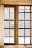 Dat is de eerste sneeuw buiten het venster Royalty-vrije Stock Foto