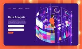 Dat digital liso do mercado do conceito de projeto do Web site do projeto do modelo ilustração stock