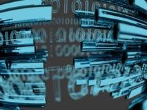 Dataöverföring förbi informationsteknik om optisk fiber 3d framför Arkivbild