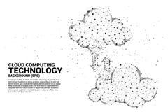 Dataöverföring med linjen för polygon för begrepp för molnberäkningsnätverk förbindelseden prick stock illustrationer