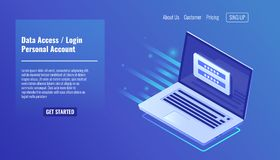 Data Access, login form on screen laptop, personal account, authorization process, inter password, personal data. Data Access, login form on screen of laptop vector illustration