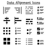 Data alignment & Text Formatting icons. Data alignment & Text Formatting icon set vector illustration Vector illustration Royalty Free Stock Photos
