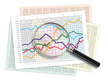 Data Analysis. Magnifying glass over a line graph chart Royalty Free Stock Photography